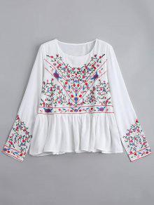 Blusa De Gasa Bordada Floral De Los Volantes - Blanco M