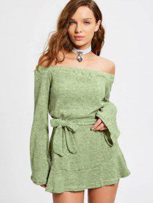 Off El Hombro Con Cinturón Mini Vestido - Verde Salvia L