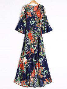 Slit Tropical Imprimir Maxi Wrap Vestido - Azul M