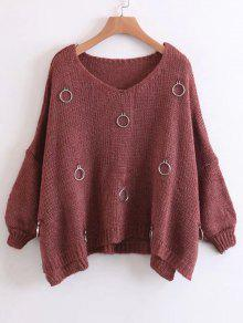 Anillos Metálicos De Gran Tamaño Side Slit Sweater - Rojo Ladrillo