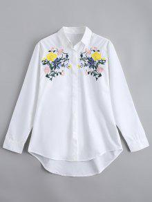 Camisa Bordada Suelta Del Botón Abajo - Blanco M
