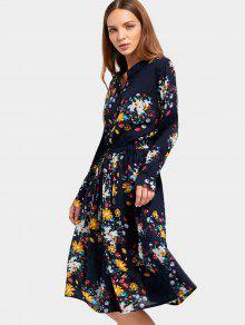 cff43bb0afc2b8 34% OFF] 2019 Drawstring Waist Long Sleeve Flower Dress In FLORAL ...
