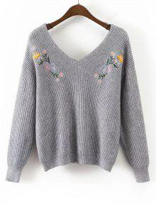 Sweat Brodé Floral à Encolure En V - Gris