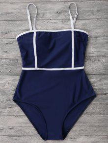 لباس سباحة من قطعة واحدة بخطوط بلون مغاير - ازرق غامق Xl