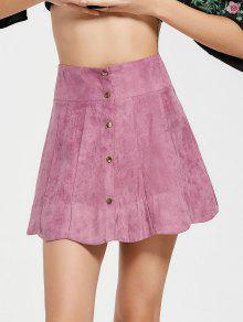 Alta Presión De La Cintura Del Botón De Presión Una Falda De Línea - Púrpura Rosácea S