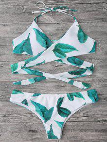 Feuille D'impression Et Fermeture à Glissière En Bikini - Blanc M