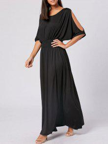 Buy Slit Sleeve High Waist Maxi Party Dress - BLACK 2XL