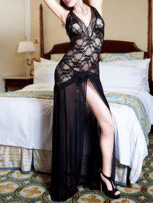 Vestido De Encaje Largo Con Flecos - Negro L