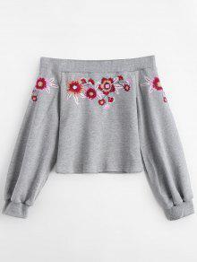 Floral Bordado De La Camiseta Del Hombro - Gris S