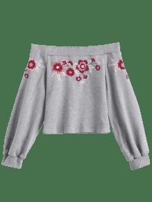 Bordado Floral Hombro Del La L De Gris Camiseta dnF6npwx