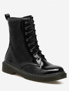 حذاء الكاحل بأربطة من الجلد اللامع - أسود 40