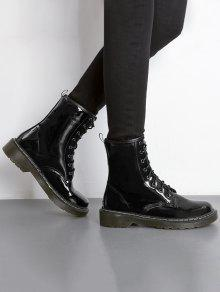 9a90d28586f74 34% OFF] 2019 Tie Up Patent Leather Ankle Boots In BLACK | ZAFUL