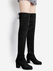 جلد الغزال أشار اصبع القدم فوق الركبة الأحذية - أسود 38