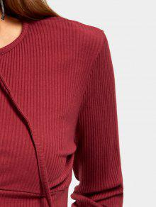 e168196fab ... Long Sleeve Lace Up Crop Sweater. ladies Long Sleeve Lace Up Crop  Sweater - WINE RED XL
