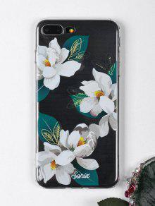 الزهور نمط ورقة حالة الهاتف لفون - أبيض ل Iphone 7 Plus