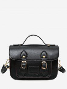 Faux Leather Double Buckle Straps Crossbody Bag - Noir