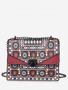 حقيبة كروسبودي من الجلد المصنع مزينة بطبعة قبلية مع سلسال - أحمر