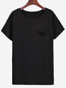 Camiseta De Bolsillo Con Ranura Lateral De Cuello Redondo - Negro Xl