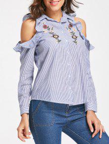 Camisa A Rayas De Bordado Floral Hombro Frío - Azul S