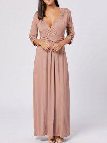 فستان ماكسي غارق الرقبة طويل  - البني الفاتح Xl