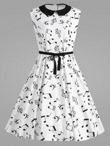 Más Tamaño De Las Notas Musicales Impreso Collar Vestido Retro - Blanco 4xl