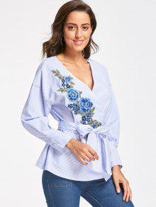 abceb2f5be5690 62% OFF  2019 Embroidery Wrap Blouse With Tie Belt In BLUE STRIPE ...