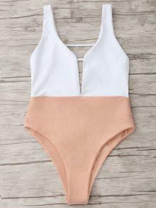High Cut Two Tone One Piece Swimwear - Cor-de-rosa Nude S