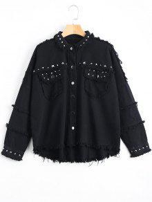 Rivet Embellished Pockets Frayed Hem Jacket