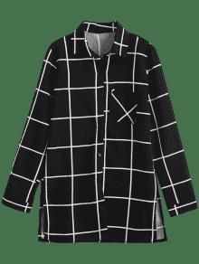 Negro Bolsillo Camisa Cuadros Largo A De L ZqwXPpqTc