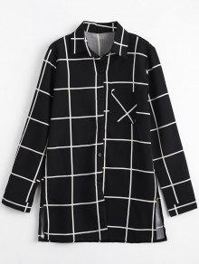 طويل زر جيب حتى قميص منقوشة - أسود Xl