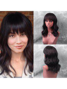 متوسط كامل بانغ موجة الطبيعية شعر مستعار الإنسان - أسود 45cm