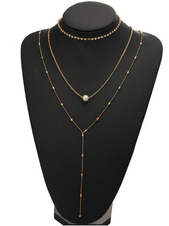Collier strass Faux Pearl Necklace - Or