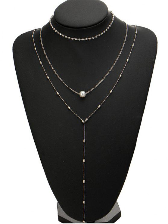 hot Rhinestone Faux Pearl Necklace Set - SILVER