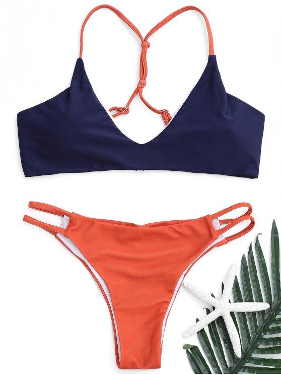 Strappy Scrunch Butt Bikini Set - Azul Arroxeado S