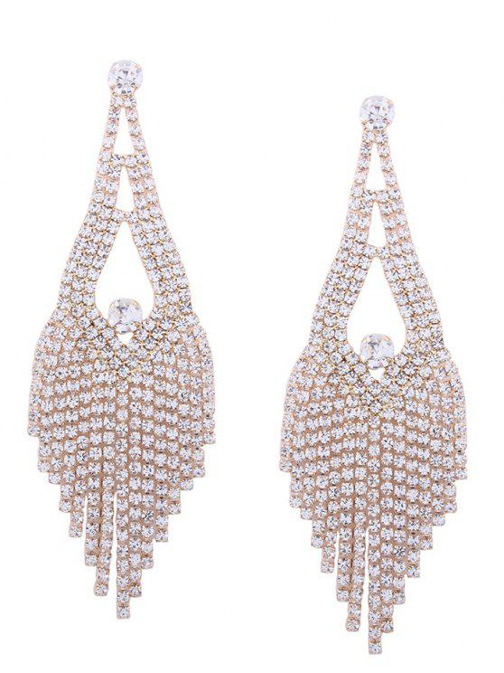 Sparkly Rhinestone Chandelier Teardrop Earrings - Dourado