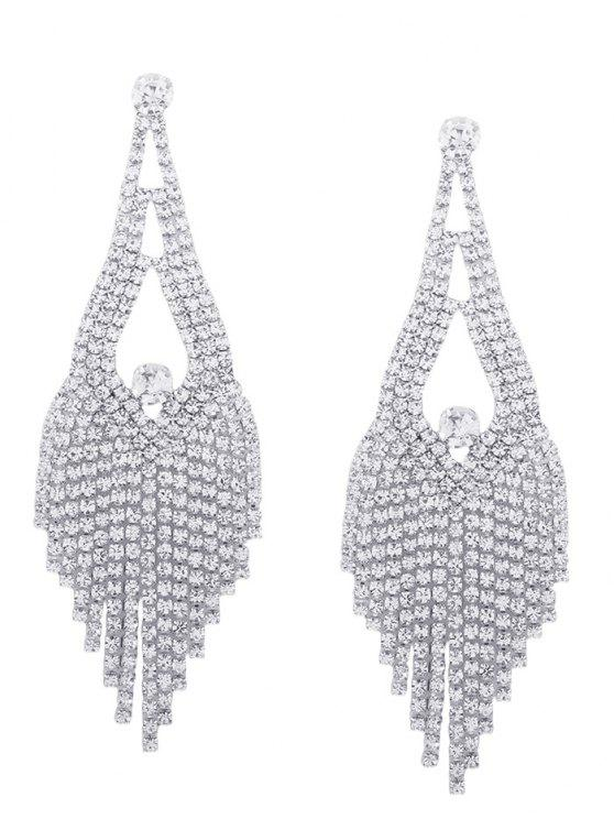 Sparkly Rhinestone Chandelier Teardrop Earrings - Argent