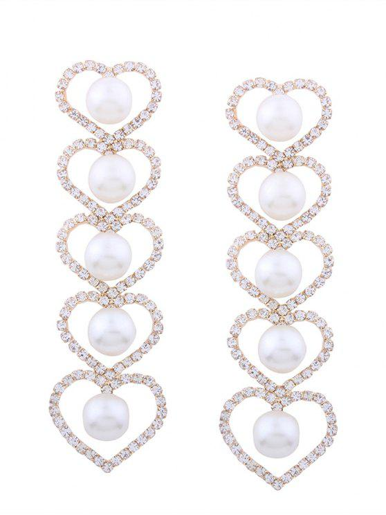 Boucles d'oreilles strass Faux Pearl Heart Party - Or