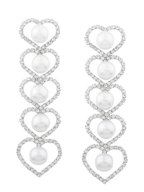 outfits Rhinestone Faux Pearl Heart Party Earrings - SILVER