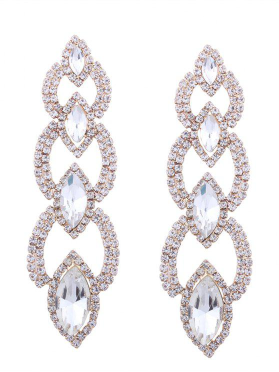 Rhinestone Faux Gem Sparkly Party Earrings - Or
