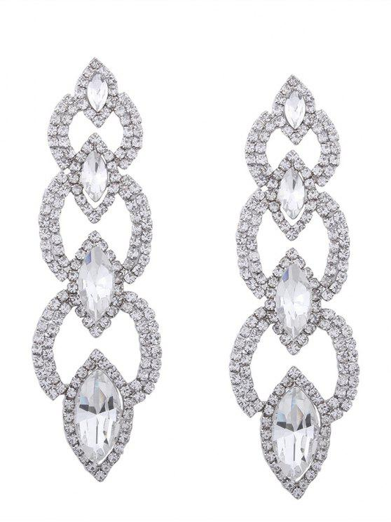 Rhinestone Faux Gem pendientes brillantes Party - Plata