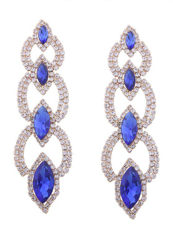 Rhinestone Faux Gem Sparkly Party Earrings - Azul