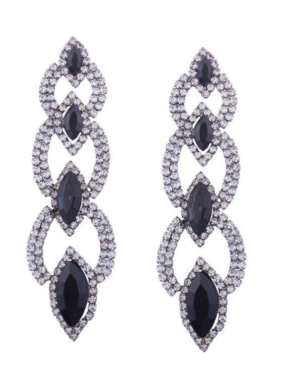 trendy Rhinestone Faux Gem Sparkly Party Earrings - BLACK