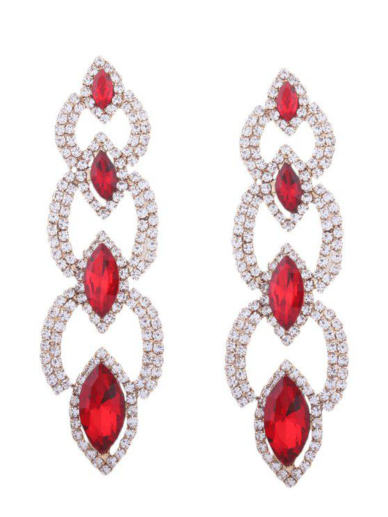 fashion Rhinestone Faux Gem Sparkly Party Earrings - RED