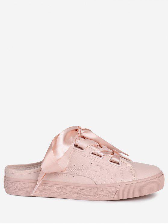 Flache Schuhe aus PU Leder mit Schnürsenkel - Pink 40