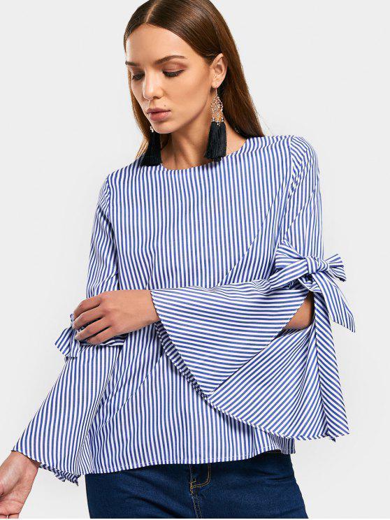 latest Bowknot Open Sleeve Stripes Blouse - STRIPE M