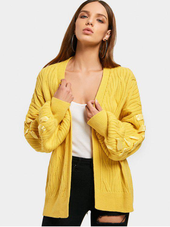 best Lantern Sleeve Open Front Lace Up Cardigan - YELLOW ONE SIZE