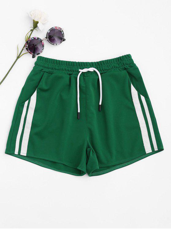 latest Side Striped Sports Shorts - GREEN L