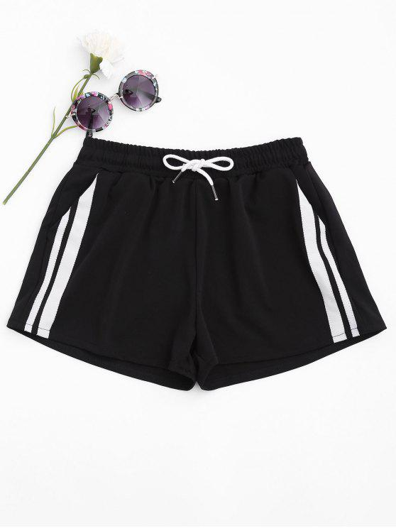 chic Contrast Sides Running Shorts - BLACK M