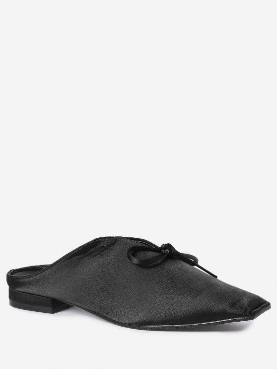 new Square Toe Bowknot Satin Slippers - BLACK 39