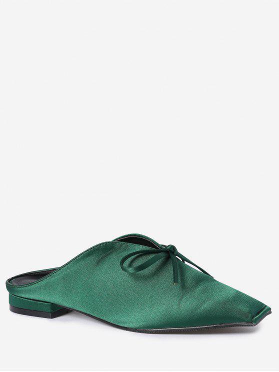 Chaussons en satin à talons carrés Toe Bowknot - Vert 37